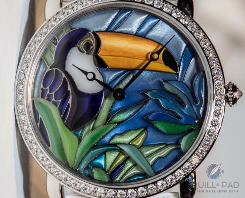 Toucan in plique à jour enamel by Cartier