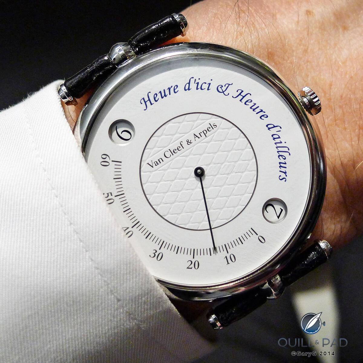Van Cleef & Arpels Heure d'ici & Heure d'ailleurs on the wrist