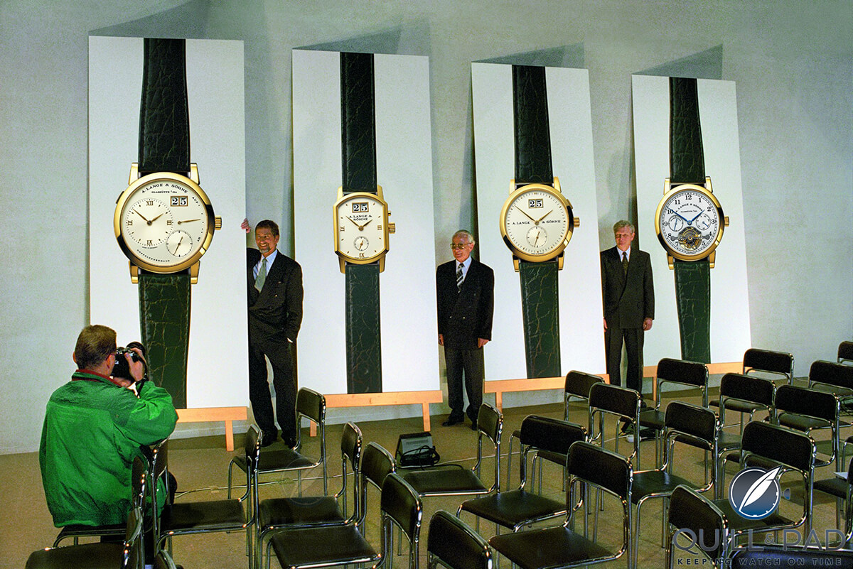 TL-R: Blümlein, Lange and Knothe under posters of the first four models launched by A.Lange & Sohne dated 24 October 1994
