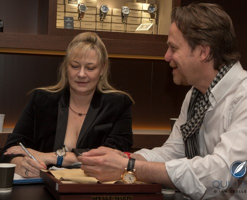 Quill & Pad co-founder Elizabeth Doerr talking to Peter Speake-Marin