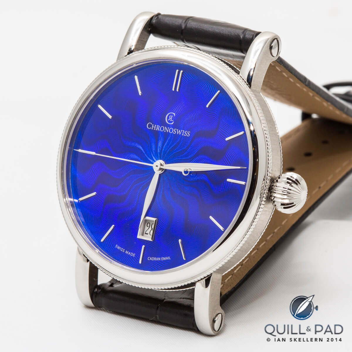 Blue enamel over guilloche by Chronoswiss