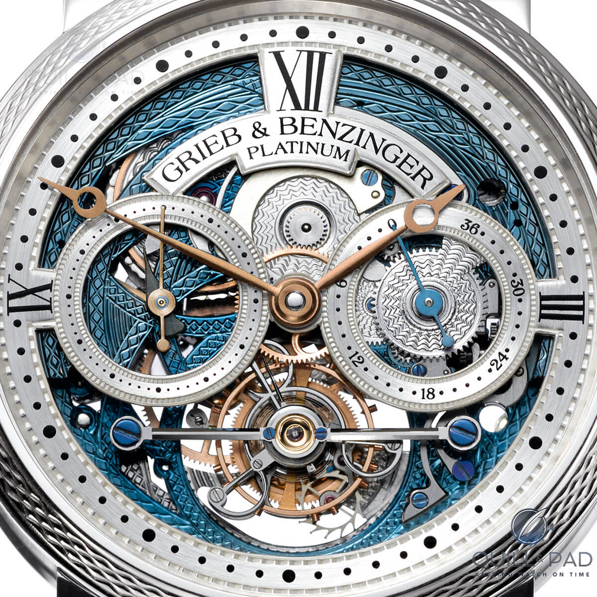 Intricately skeletonized dial of the Grieb & Benzinger Blue Merit