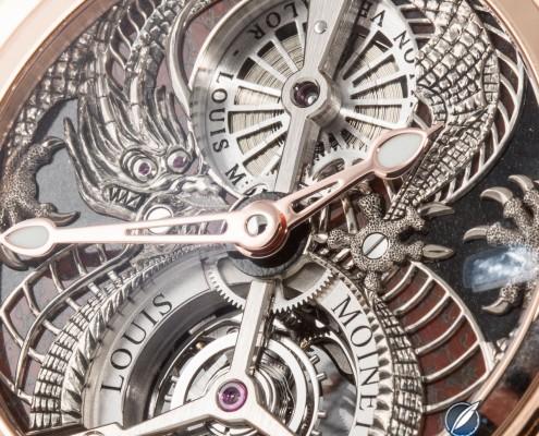 Close up of the engraved dial of the Louis Moinet Dragon Tourbillon