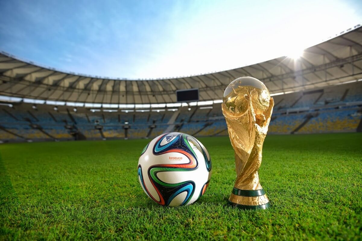 The symbol and trophy of the 2014 FIFA World Cup in Brazil