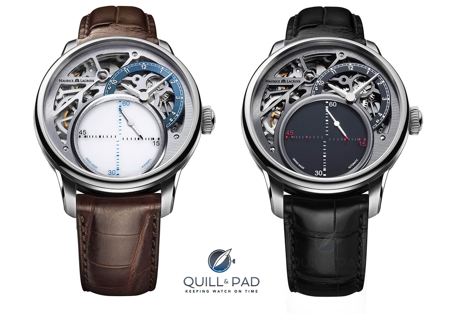 Maurice Lacroix Masterpiece Mysterious Seconds available in white and black dial versions