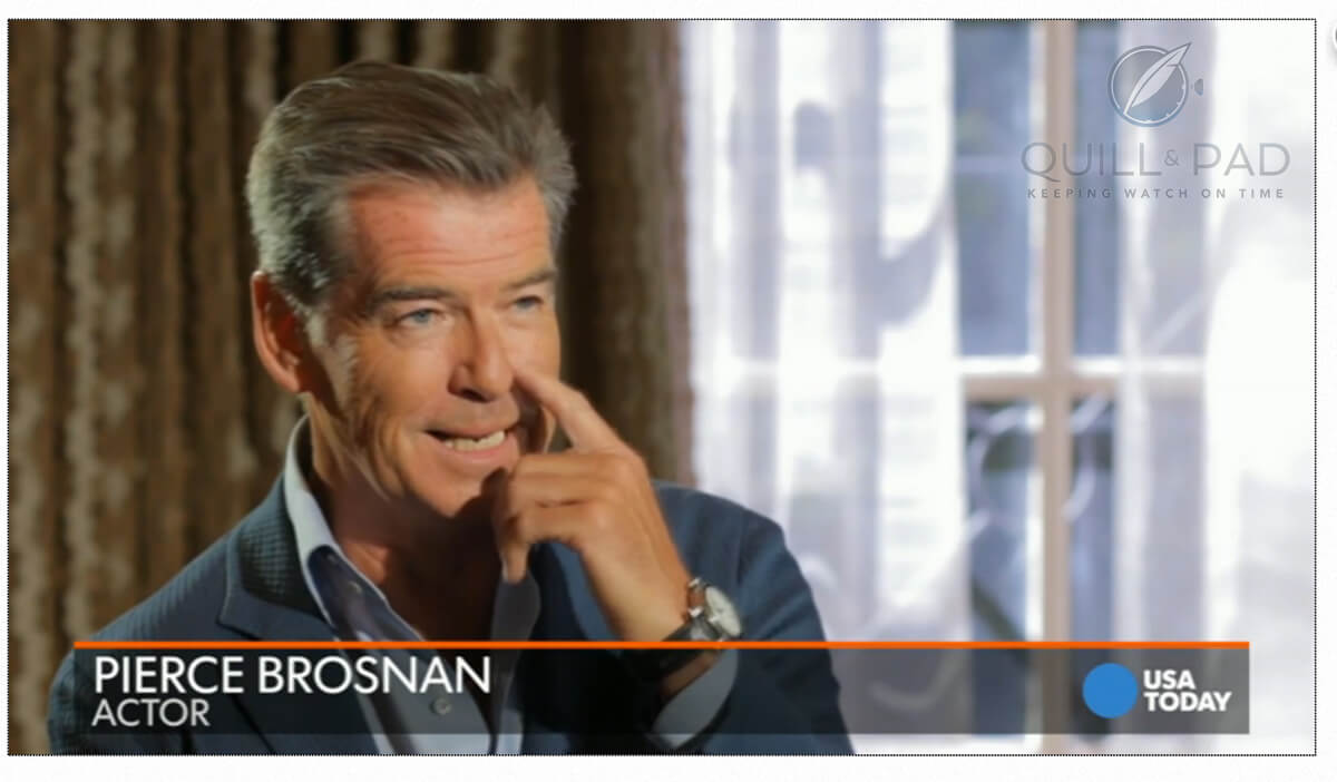 Pierce Brosnan wearing his Speake-Marin Resilience in a 'USA Today' video