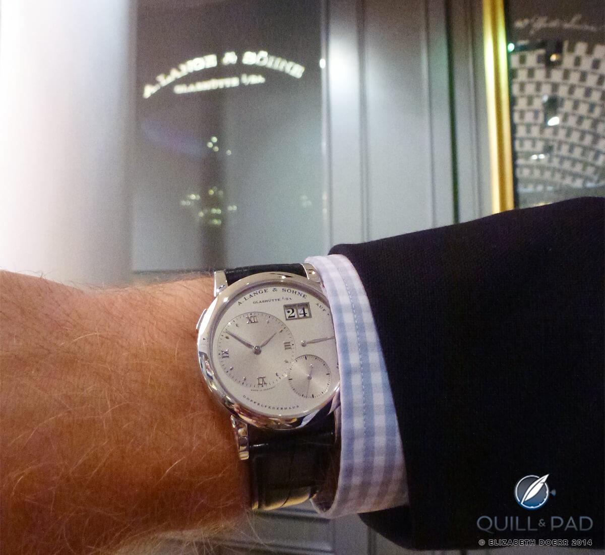 The Grand Lange 1 on the wrist inside A. Lange & Söhne's Dresden boutique