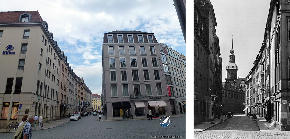 Dresden's Toepferstrasse then and now: an Escada boutique now resides in the historical location (courtesy SLUB Dresden/Deutsche Fotothek/Walter Möbius)