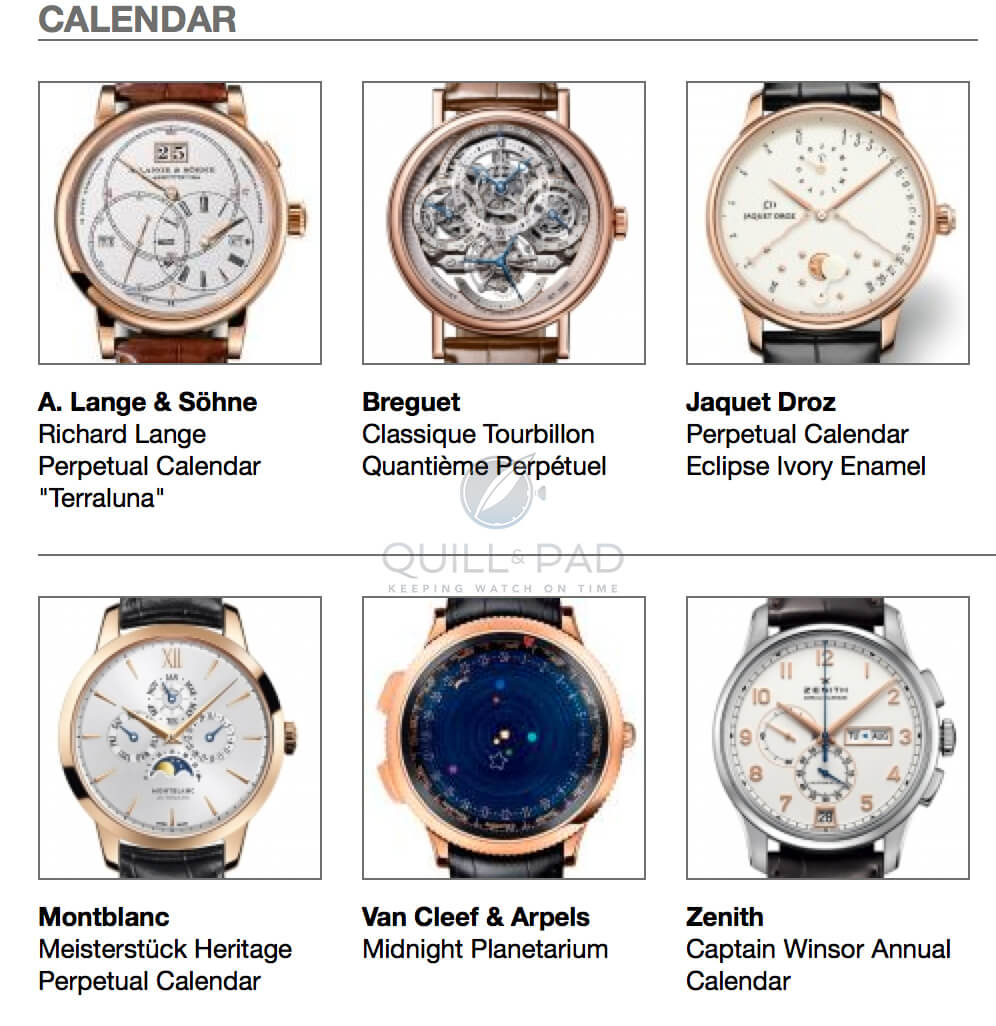 The pre-selected calendar watches in the 2014 Grand Prix d'Horlogerie de Genève