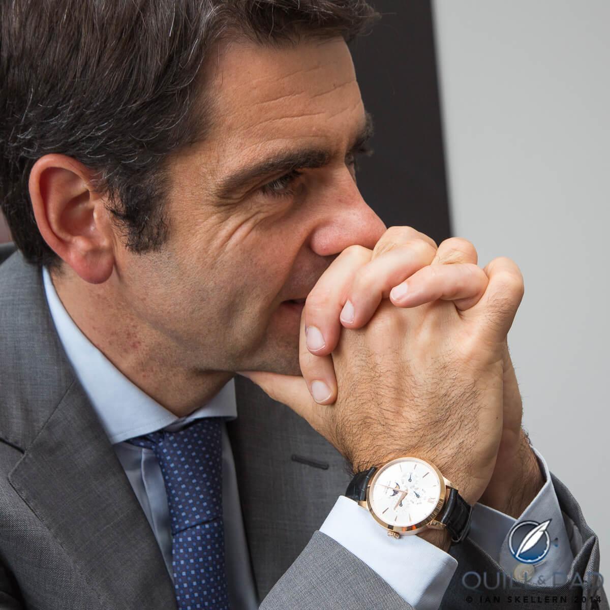 Montblanc CEO Jérôme Lambert wearing a Heritage Perpetual Calendar