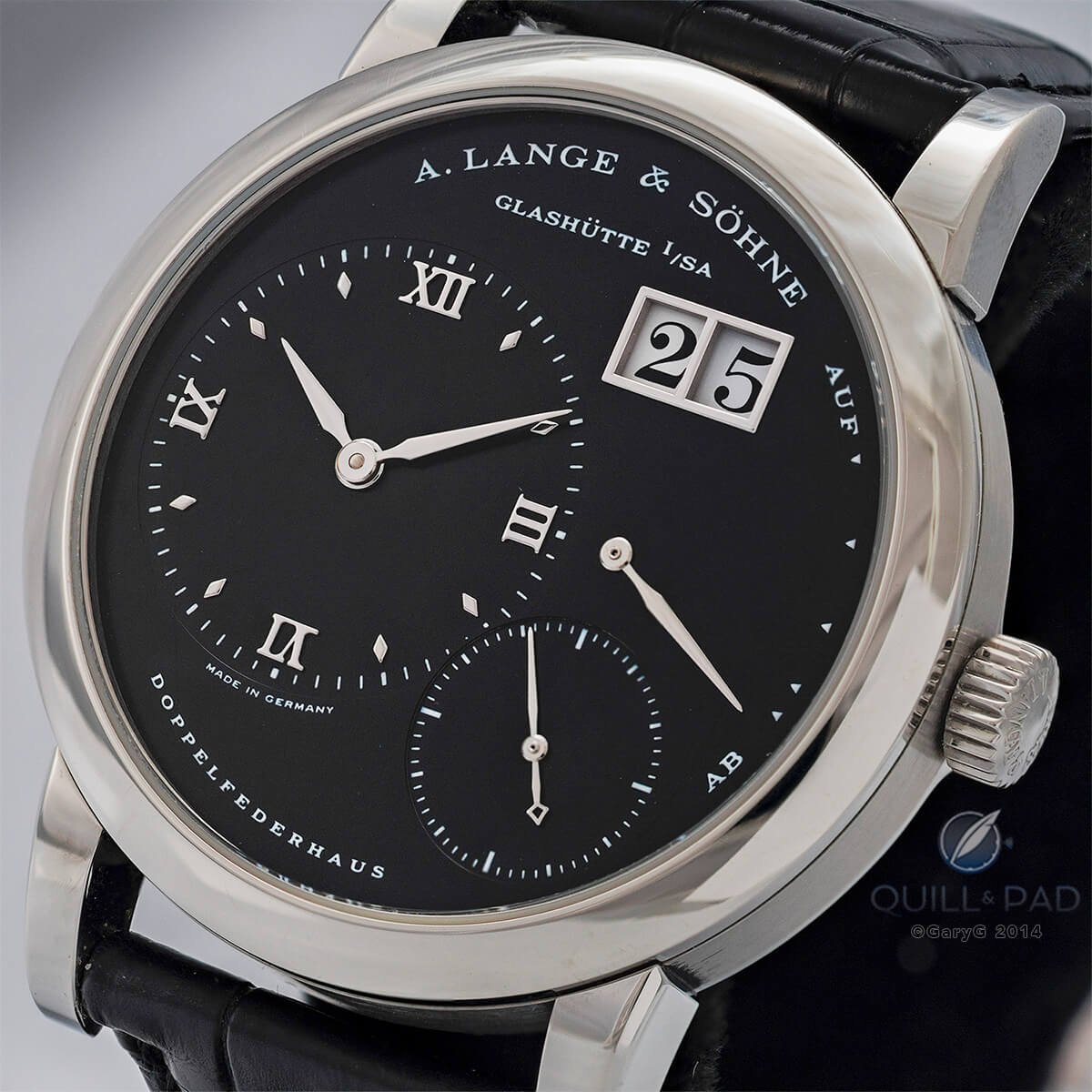 A. Lange & Söhne Lange 1 with black dial and rare stainless steel case