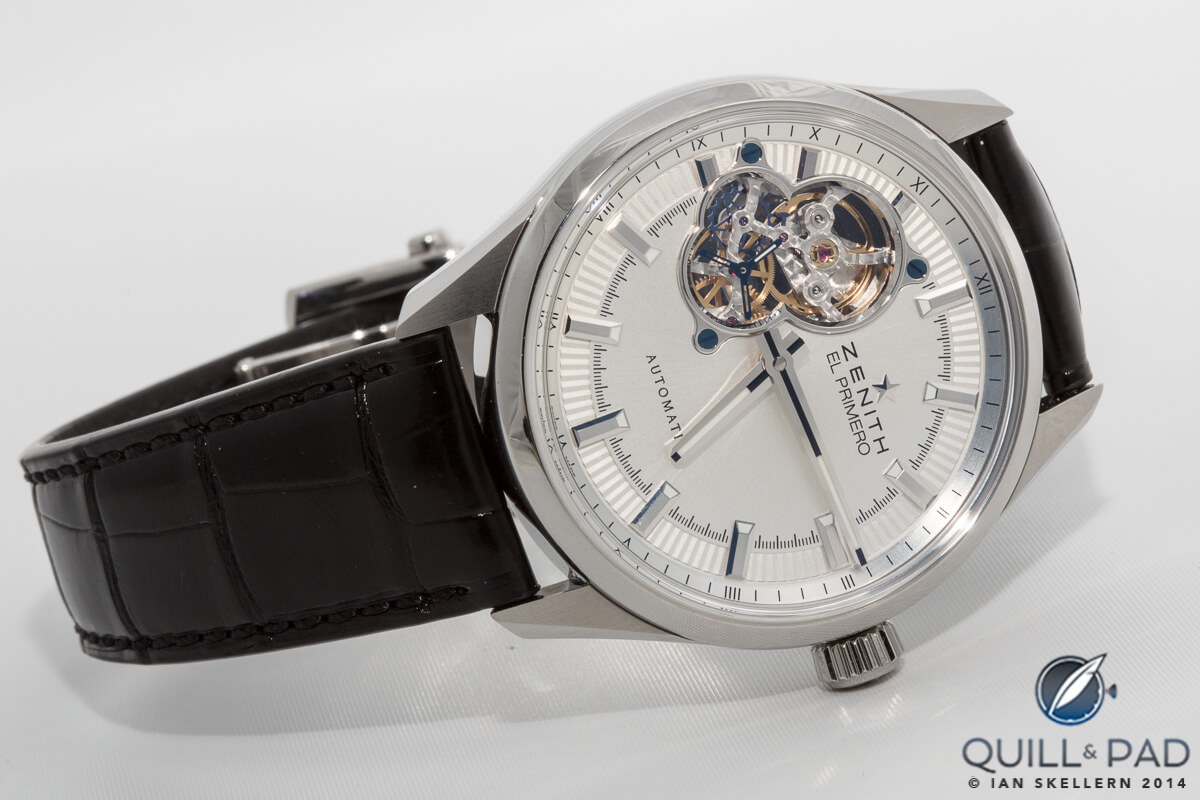 Zenith El Primero Synopsis (note that the model entered has red gold hands and indexes)