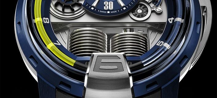 HYT H1 Alumen Blue. The case is in ALUN 316B, a new alloy made from aluminium, magnesium, titanium and zirconium