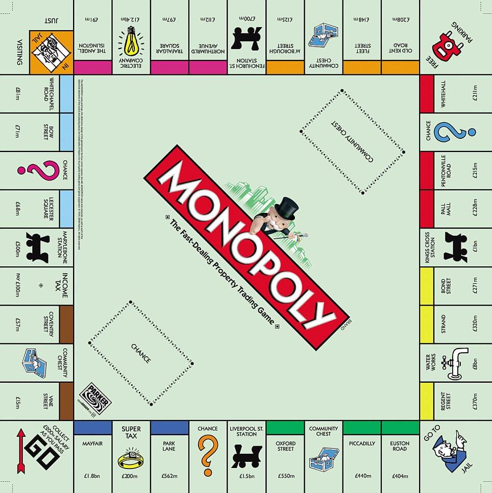 A Monopoly board with a London theme; Mayfair is at bottom left beside