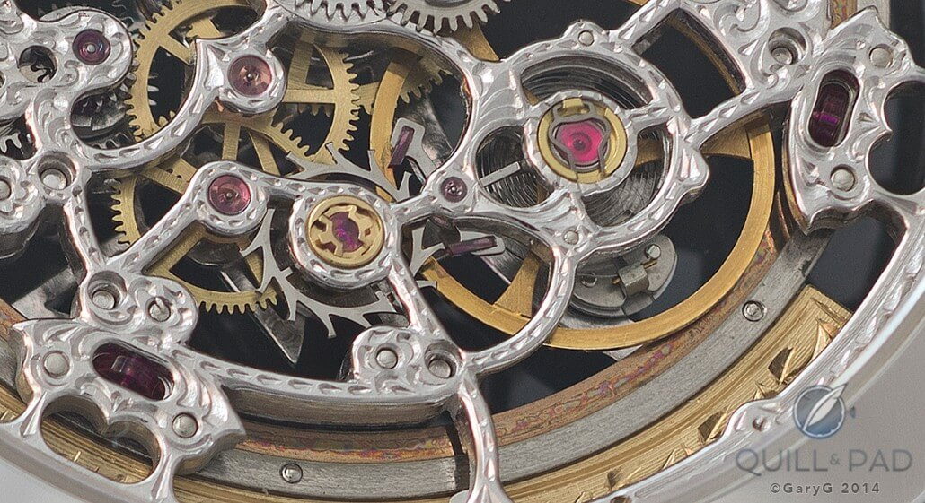Ruby slippers: movement detail of the Vacheron Constantin Malte Squelette showing automatic winding system elements