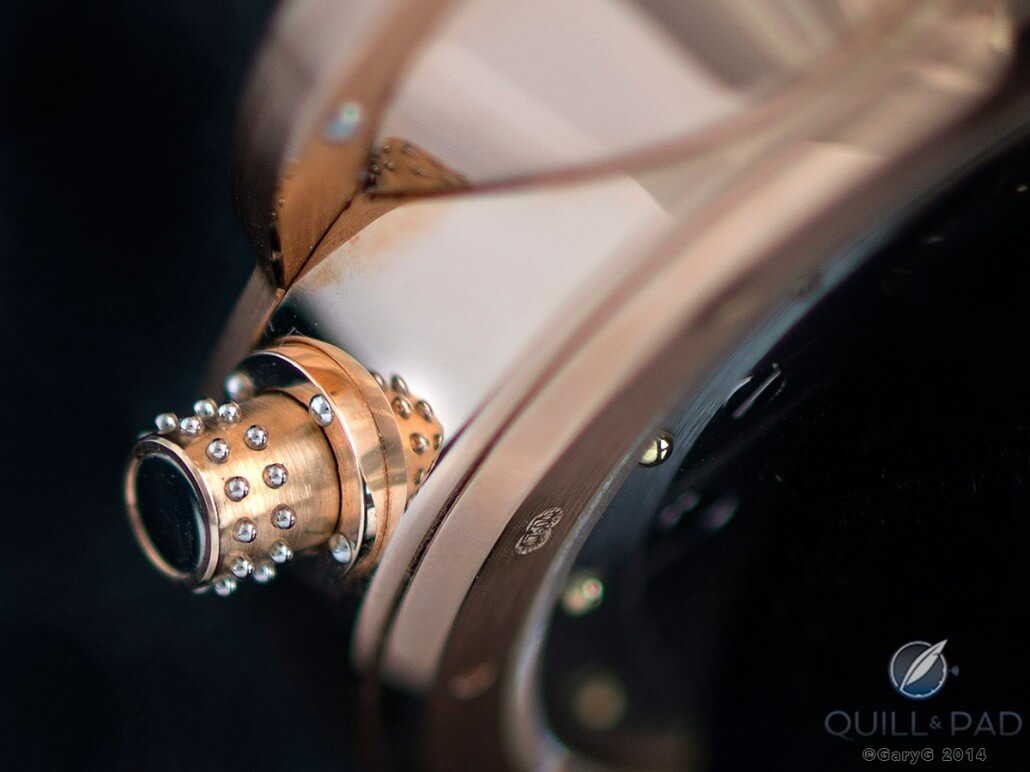 Case finishing: crown detail from the Vianney Halter Antiqua