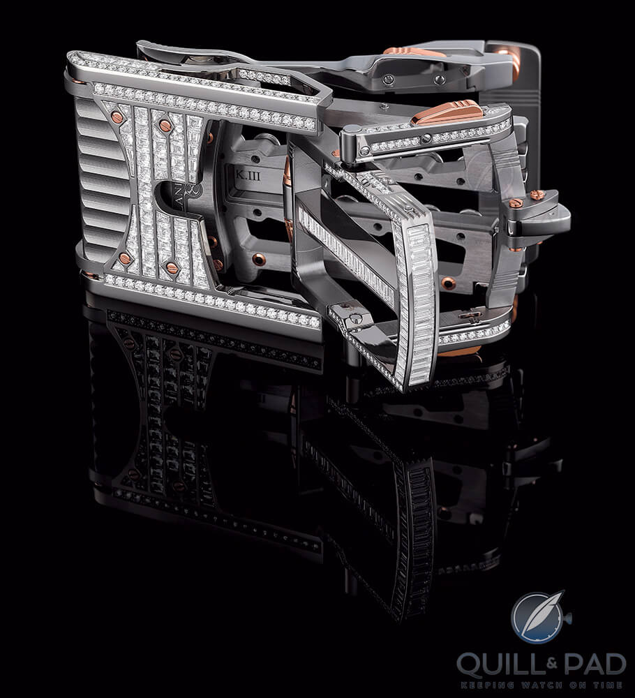 The full-pavé R822 Caliber Predator buckle by Roland Iten