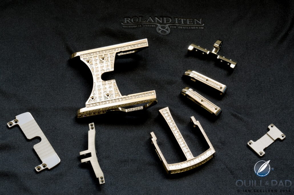 Just a few of the 167 components making up a Roland Iten R822 Caliber buckle