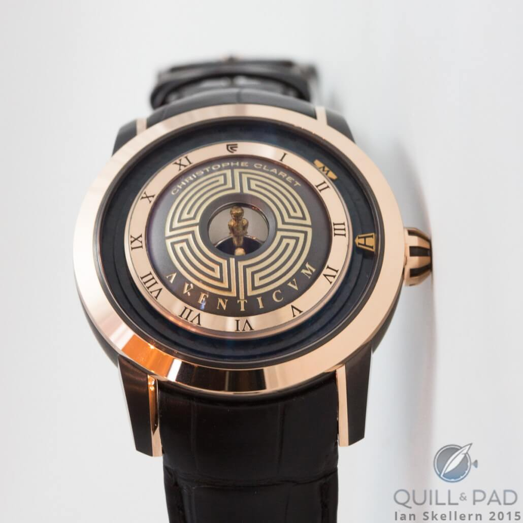 The Christophe Claret Aventicium has a small bust of the Roman Emperor Marcus Aurelius appearing above the center of the dial by means of a Mirascope