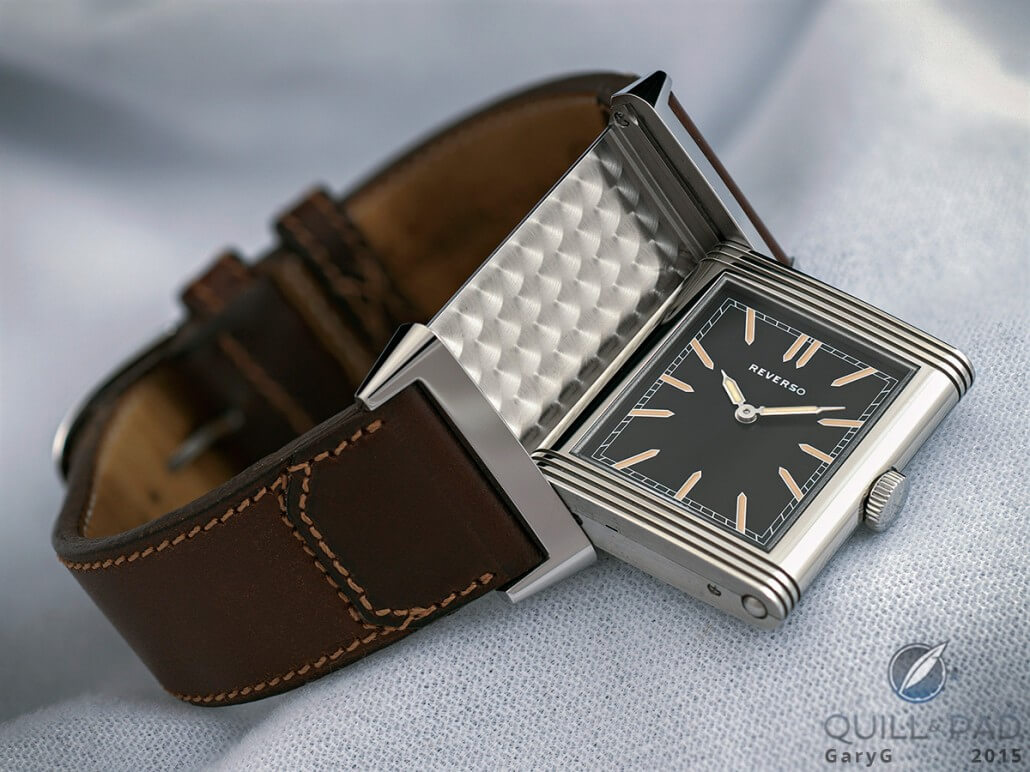 Flipping out: the Jaeger-LeCoultre Reverso case in action, with perlage base plate decoration visible