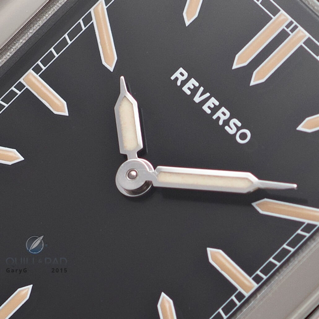 Dial detail of the Jaeger-LeCoultre Tribute to Reverso 1931 U.S. limited production 2012, highlighting the special font and hand shapes