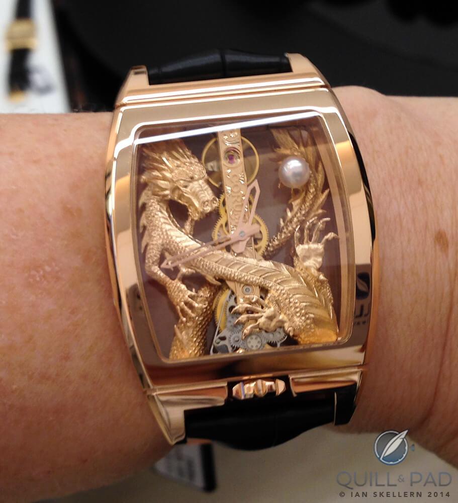 Corum Golden Bridge Dragon on the wrist