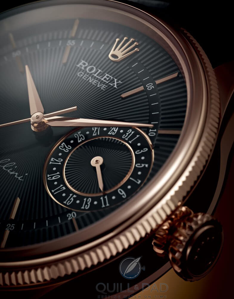 Rolex Cellini Date in Everose (pink) gold with dark dial