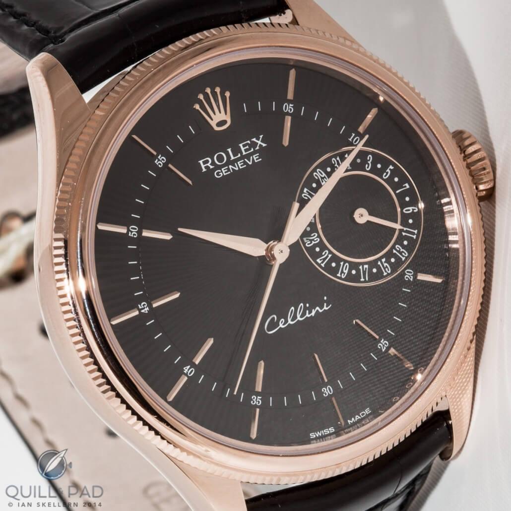 Rolex Cellini Date in Everose gold with dark dial