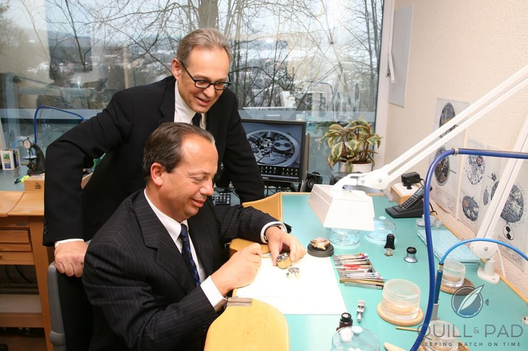 Jean Dunand co-founders Thierry Oulevey (standing) and Christophe Claret
