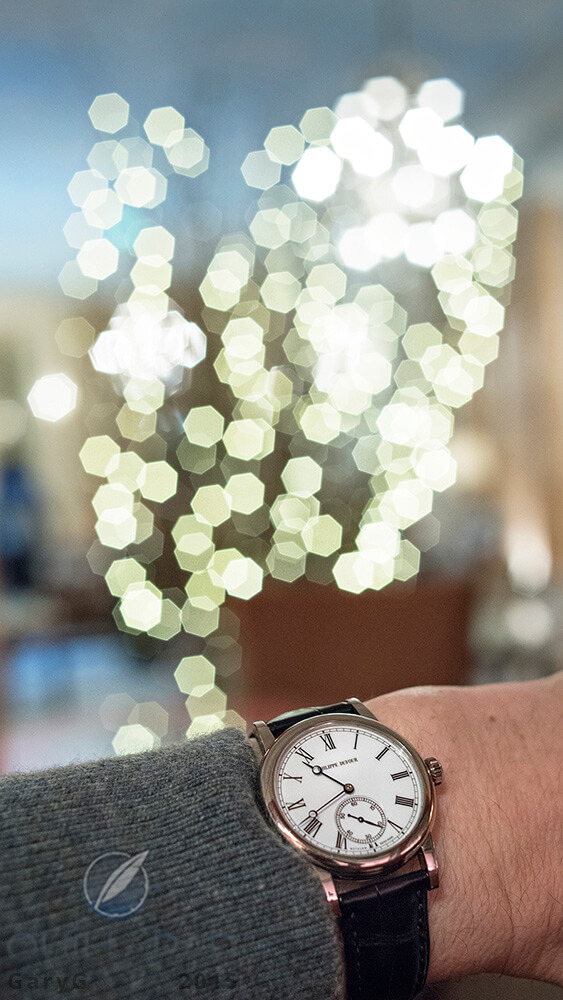 Philippe Dufour Simplicity on the author's wrist with a holiday theme