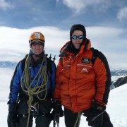 Sir Ranulph Fiennes and Michael Kobold on Mount Everest