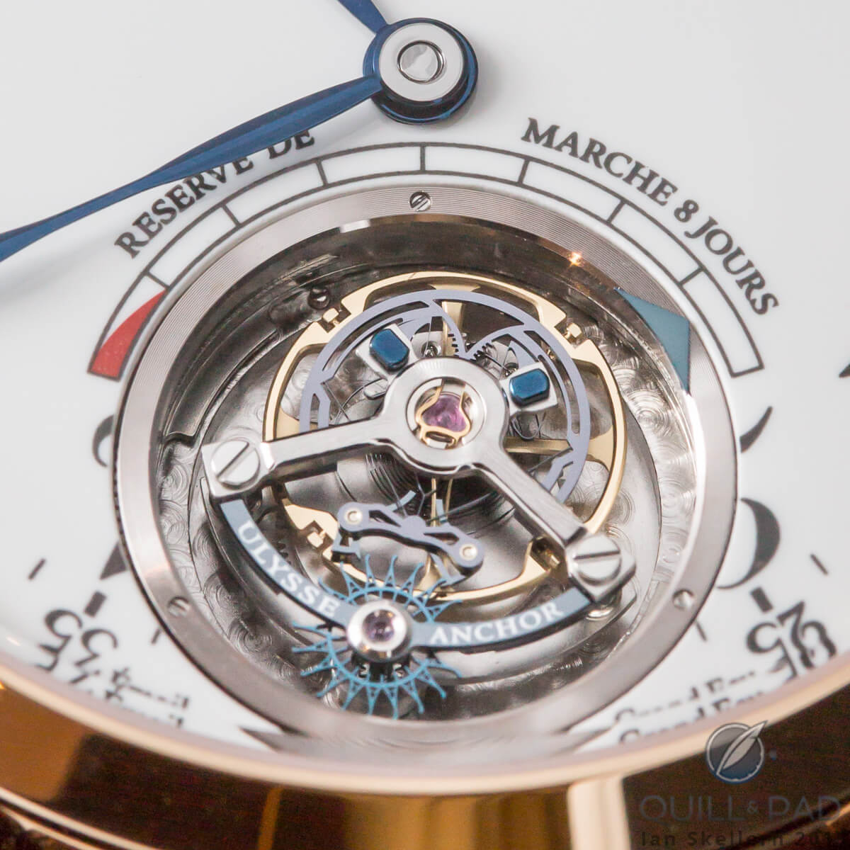 Close-up look at the tourbillon and escapement of the Ulysse Anchor Tourbillon