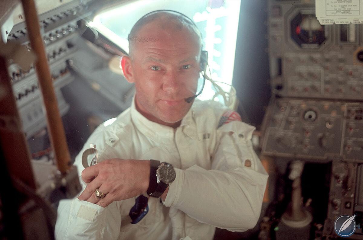 Buzz Aldrin in space wearing his Omega Speedmaster