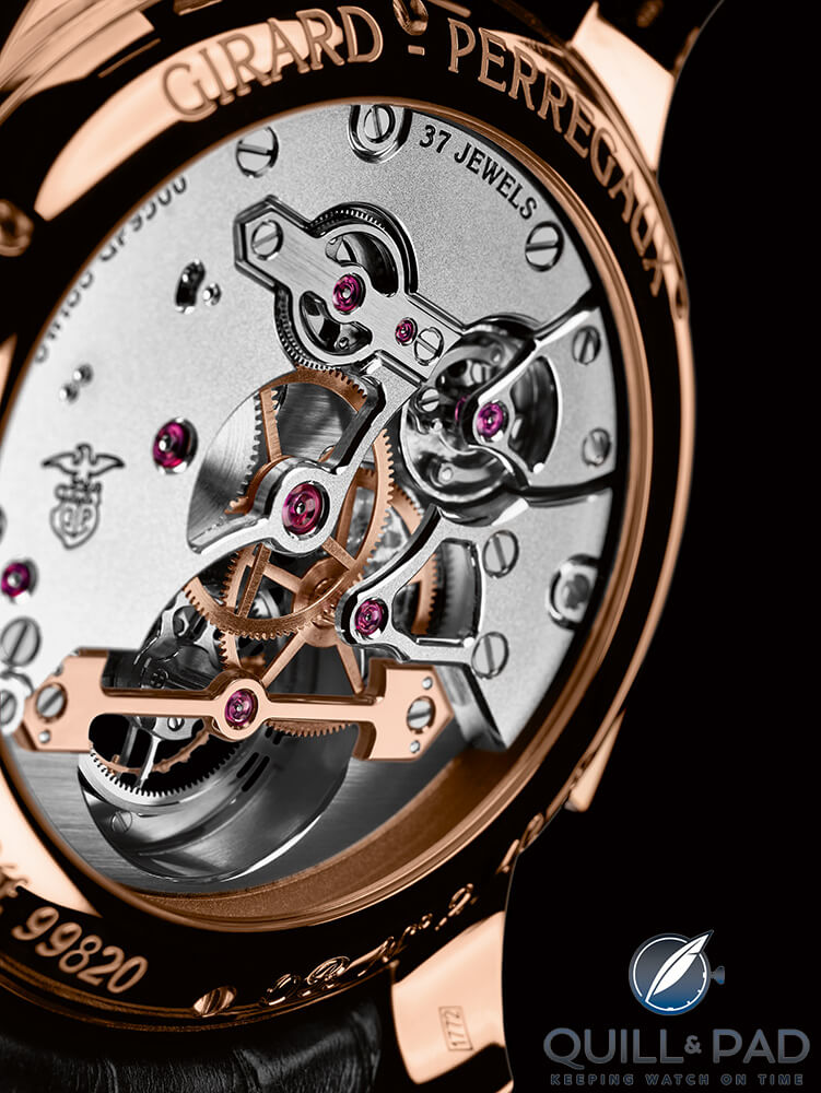 View through the display back of a Girard-Perregaux Minute Repeater Tourbillon with Gold Bridges