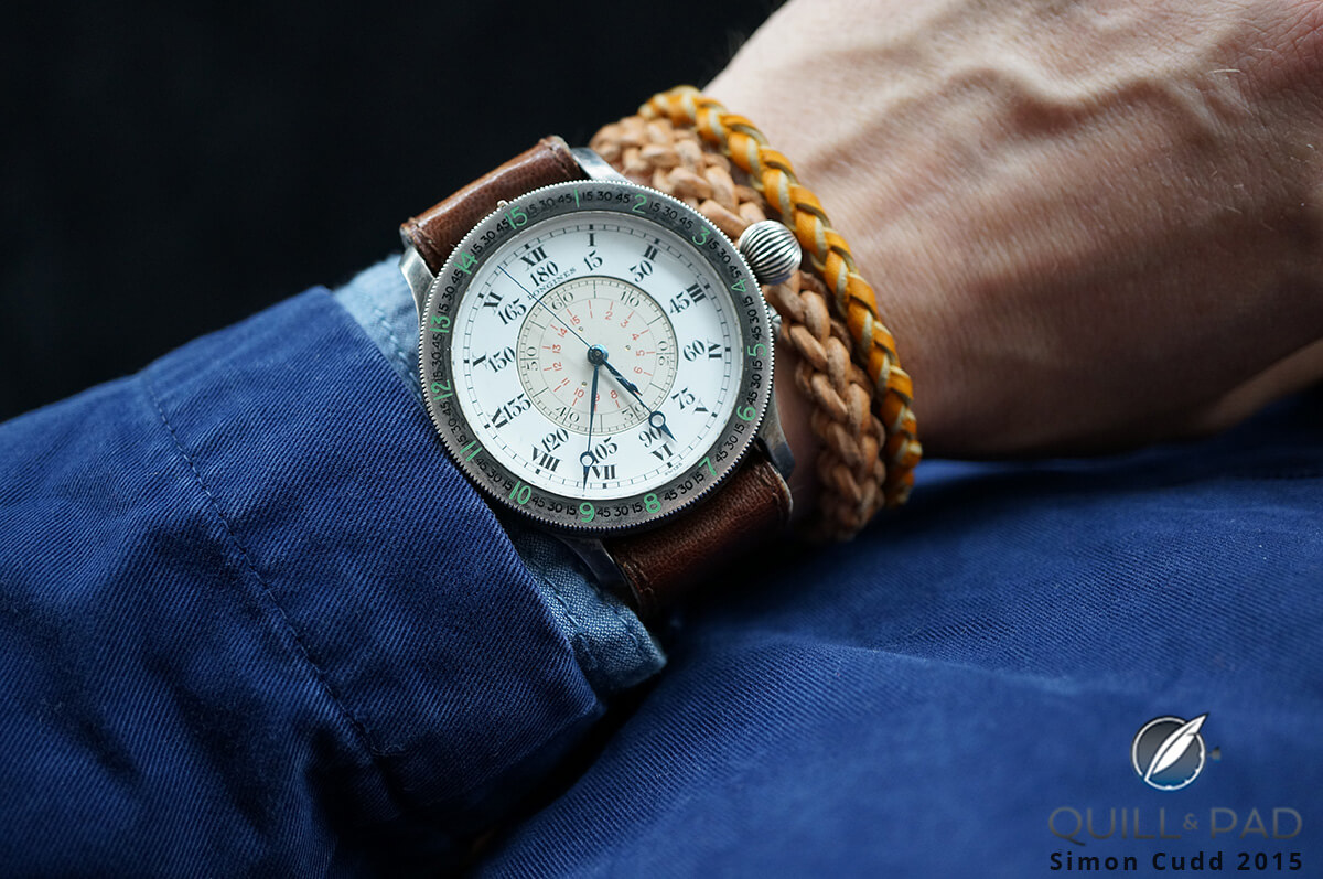 Longines Lindbergh Hour Angle from 1931 on the wrist (estimate CHF 60,000 - 80,000)