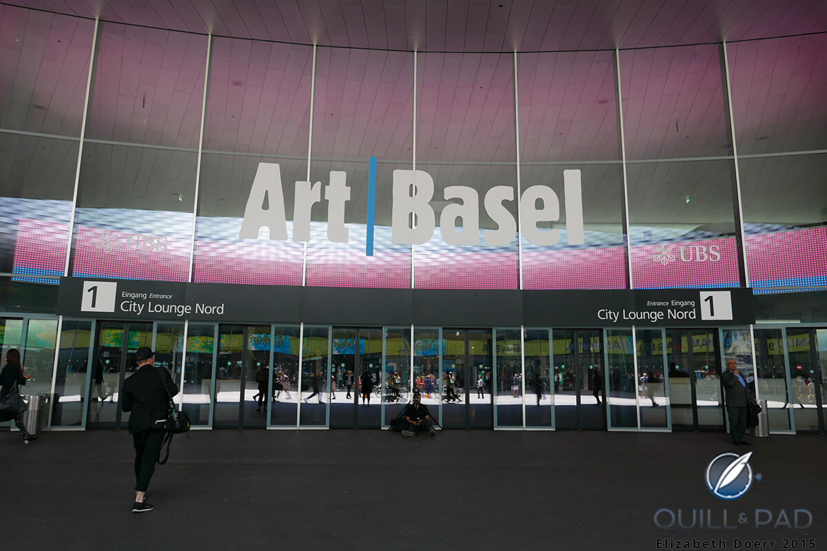 Compare the number of people near the entrance to Art Basel 2015 with the image below of Baselworld