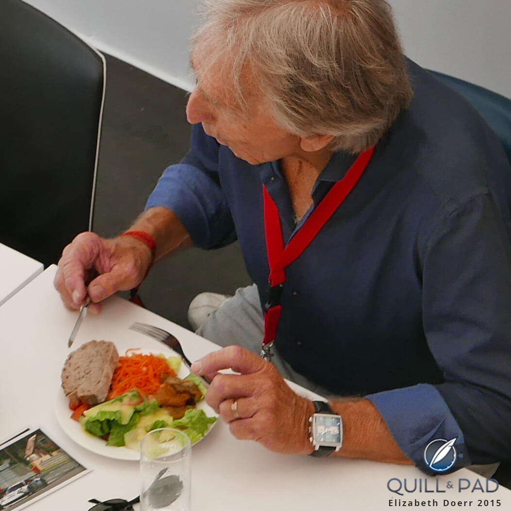 Derek Bell spotted at the Porsche hospitality during the 2015 edition of 24 Hours of Le Mans