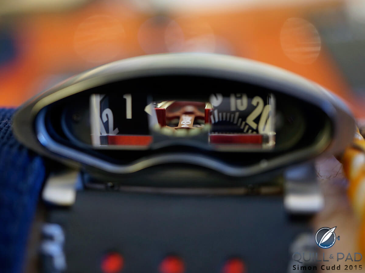 Looking between the vertical indication of HMX you can see the MB&F logo on the top of the