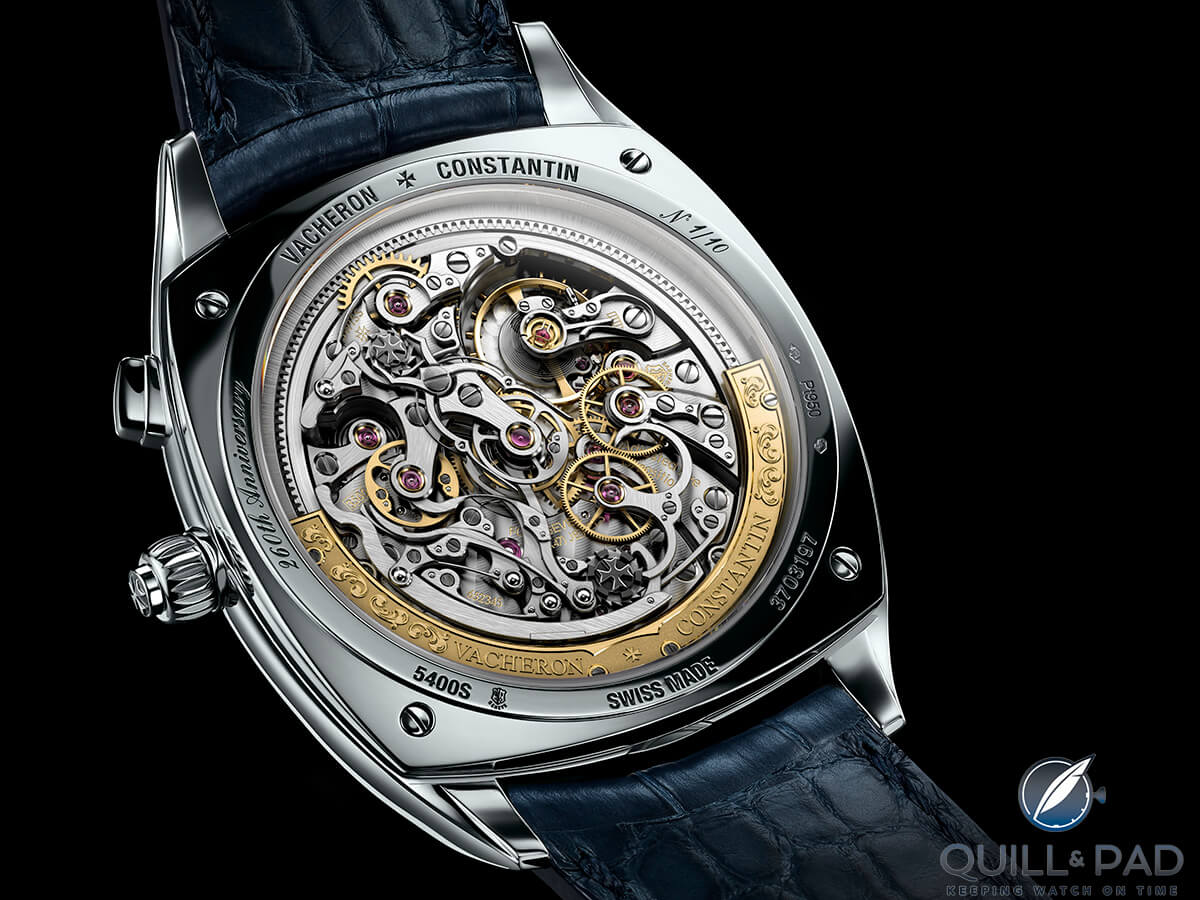 The caliber 3500 movement visible through the display back of the Vacheron Constantin Harmony Ultra-Thin Grande Complication Chronograph