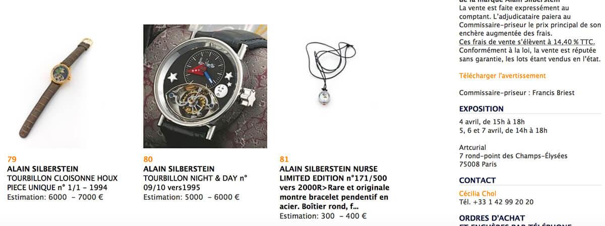 Artcurial auctioning Alain Silberstein's watches
