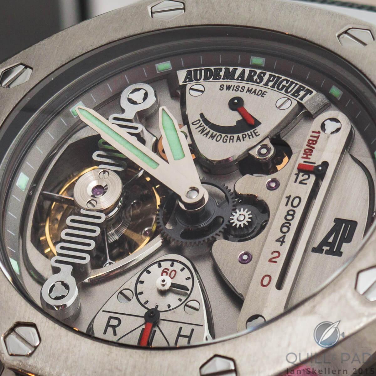 A close look dial side at the Audemars Piguet Royal Oak Concept Watch