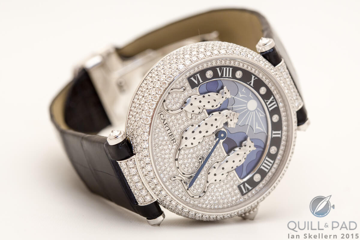 SIHH 2015: Cartier Rêves de Panthères with ultra-feminine day/night indication in a 42 mm white gold case powered by automatic Cartier Caliber 9916 MC