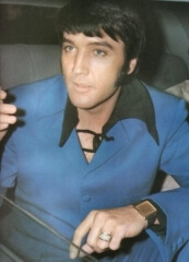 Elvis Presley wearing the flat, square, golden Corum Buckingham around 1960