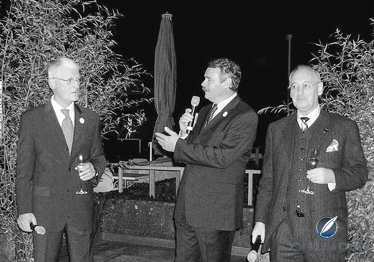 Eric Moser (original president of the board, not related to this Moser family), Dr. Jürgen Lange, and Roger Balsiger (great-grandson of Heinrich Moser) at the H. Moser & Cie launch event in 2005