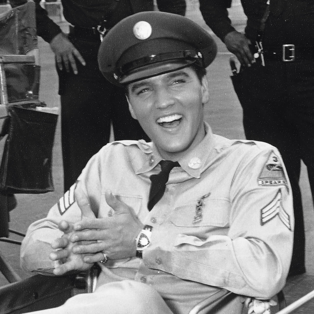Elvis Presley wearing the Hamilton Ventura in army dress