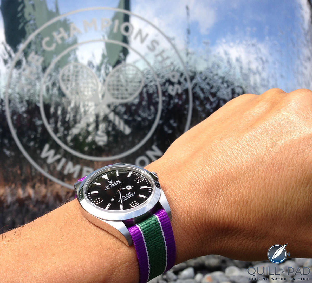 The 39 mm Rolex Oyster Perpetual Explorer on Wimbledon-colored Nato strap at Wimbledon (photo courtesy Miguel Seabra)