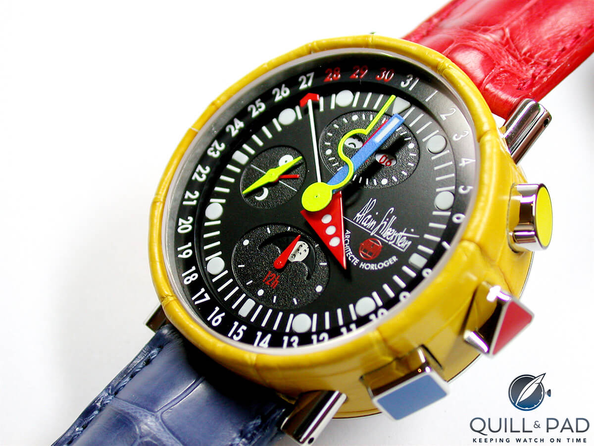 The Alain Silberstein Krono Bauhaus 2 Alligator Tricolor of 2006; note the case covered with yellow alligator leather