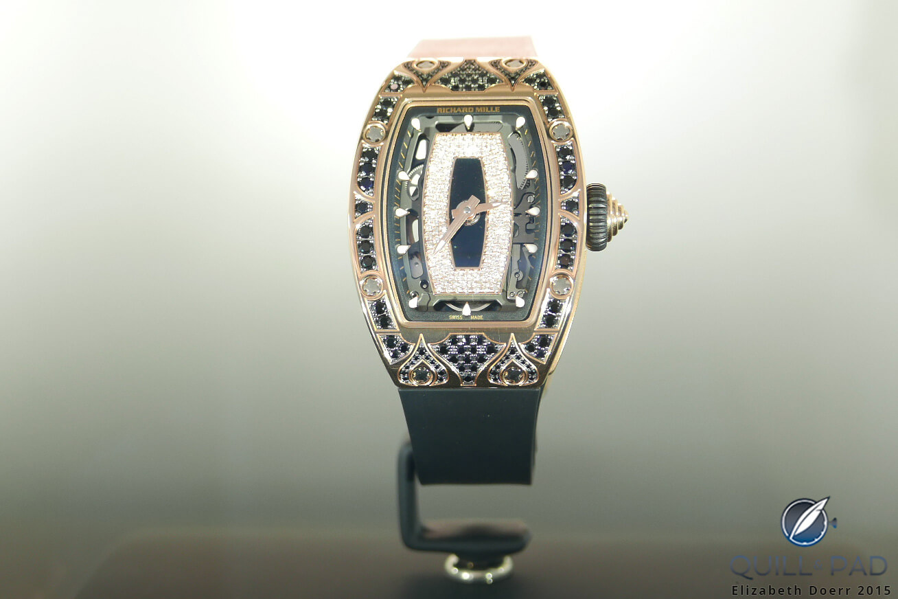 A unique Richard Mille RM 07-01 with Art Deco-style jeweled case at the brand's Paris boutique