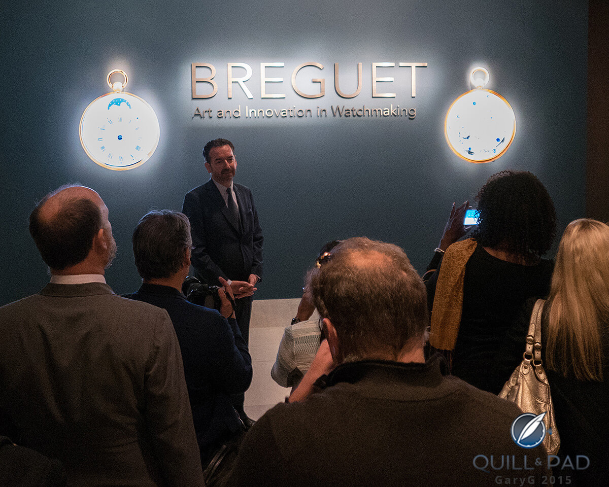 Exhibition co-curator Emmanuel Breguet leads the press tour