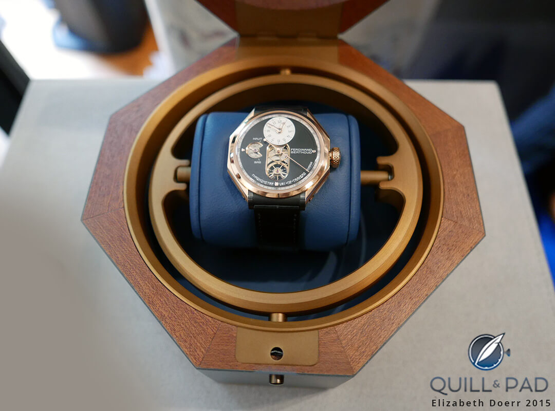 The octagonal-cased Ferdinand Berthoud FB 1 in its octagonal presentation case
